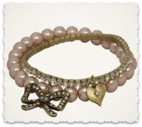Vintage Style Bow Bracelets - Pink