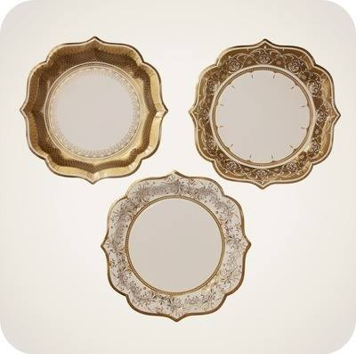 Party Porcelain Gold Great Gatsby Inspired Party Plates - Medium Plates