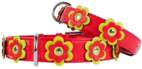 Flower leather collar Red