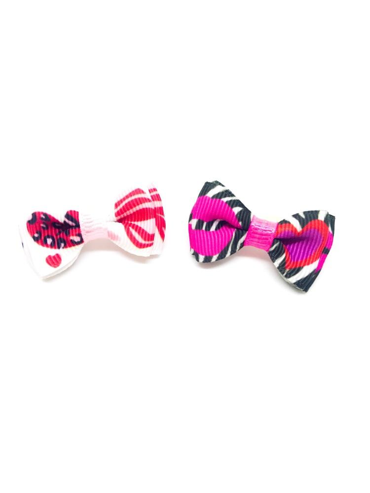 Zebra Hearts bow