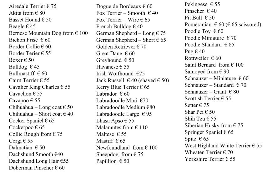 Grooming Prices Glamourdogs Ie