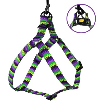 Step-in Nylon Harness ZigZag Purple Lime