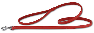 Leather Leash Red/Silver