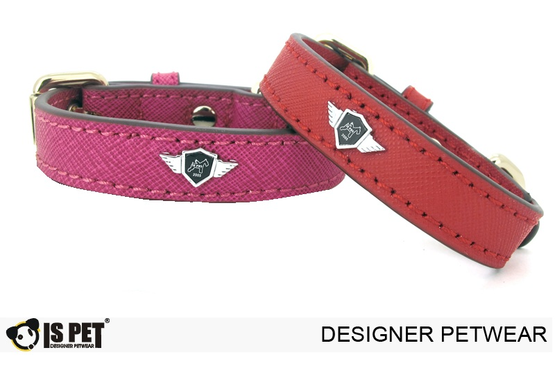 Rio leather collar Rose pink