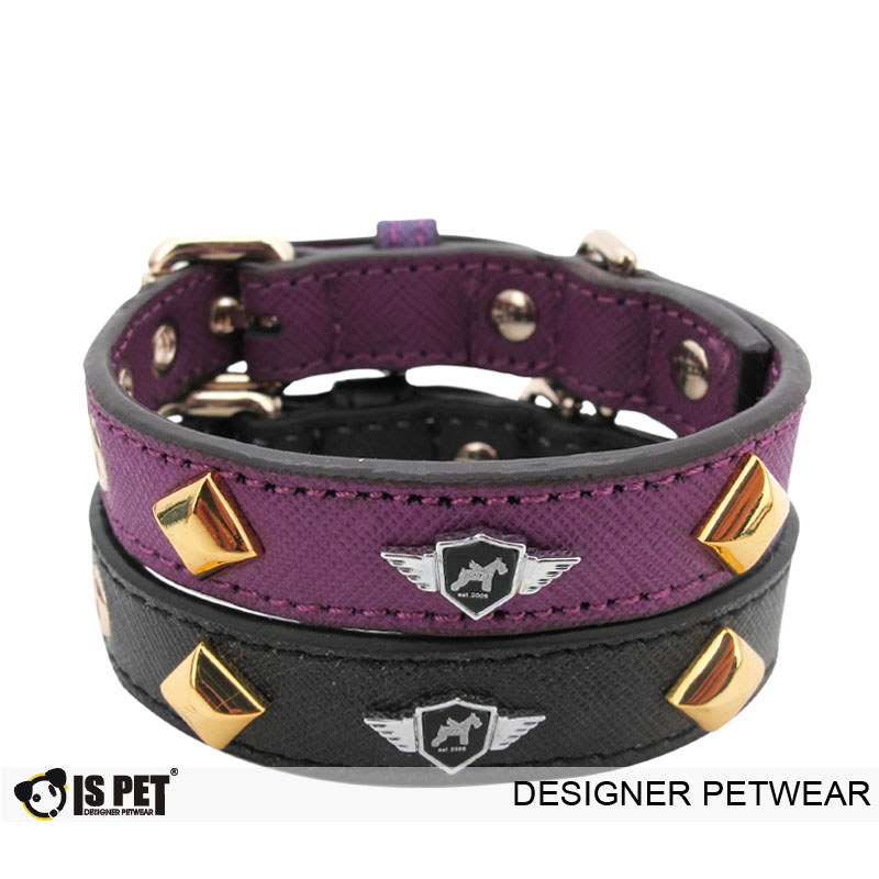 Tank leather collar Purple