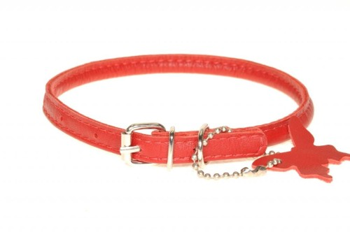 Rolled leather collar Red