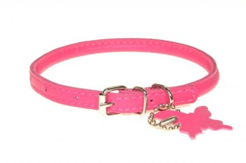 Rolled leather collar Pink