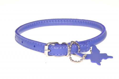 Rolled leather collar Purple