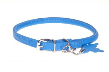 Rolled leather collar Blue
