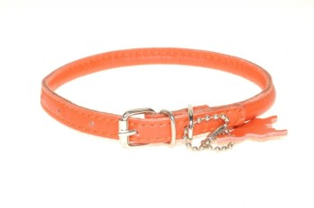 Rolled leather collar Orange