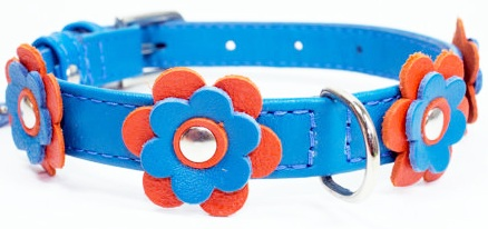 Flower leather collar Blue