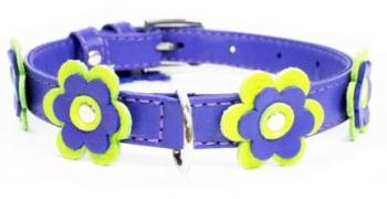 Flower leather collar Purple