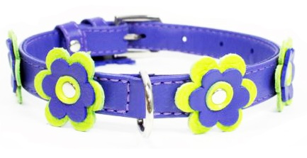Flower leather collar Purple