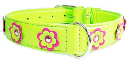 Flower leather collar Lime