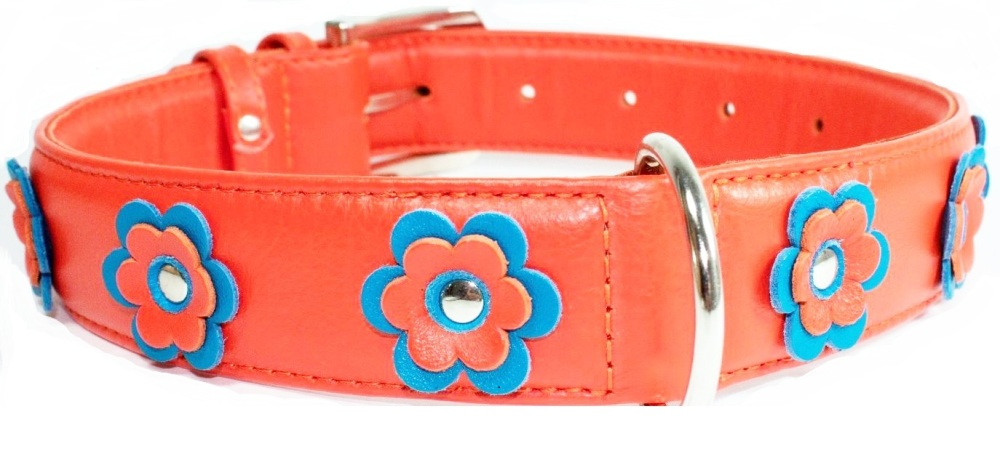 Flower leather collar Orange