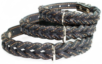 Braided leather collar Black