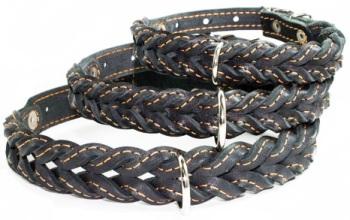 Braided leather collar Black