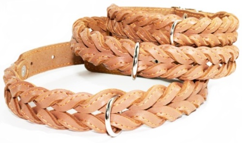 Braided leather collar Brown