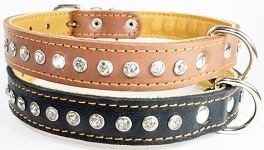 Crystal leather collar 1R