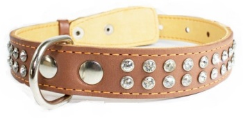 Crystal leather collar 2R Brown
