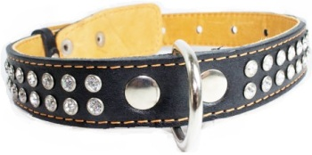 Crystal leather collar 2R Black