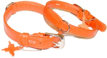 Soft Leather Orange Collar