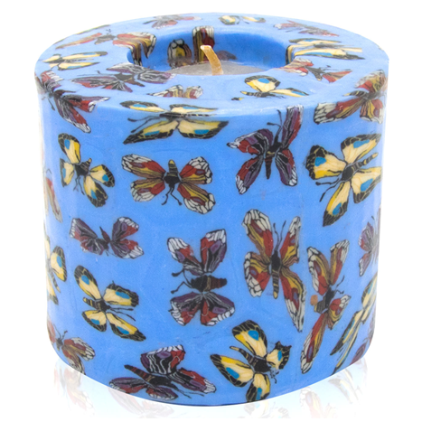 Swazi Pillar Candle - Butterfly (blue)