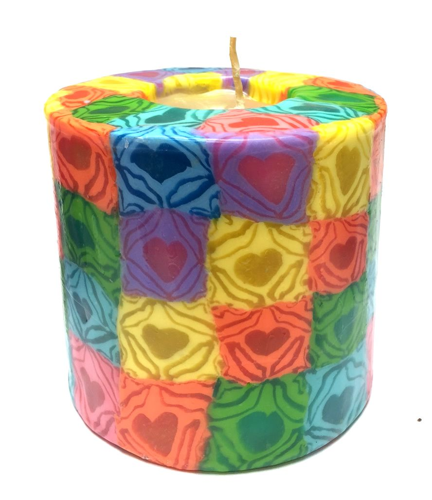 Swazi Pillar Candle - Hearts