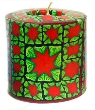 Swazi Pillar Candle - Red & Green