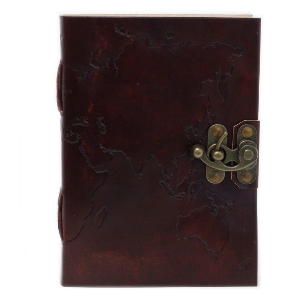 Leather World Map Notebook  (7x5