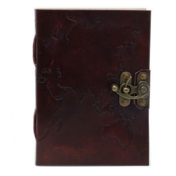 """Leather World Map Notebook  (7x5"""")"""