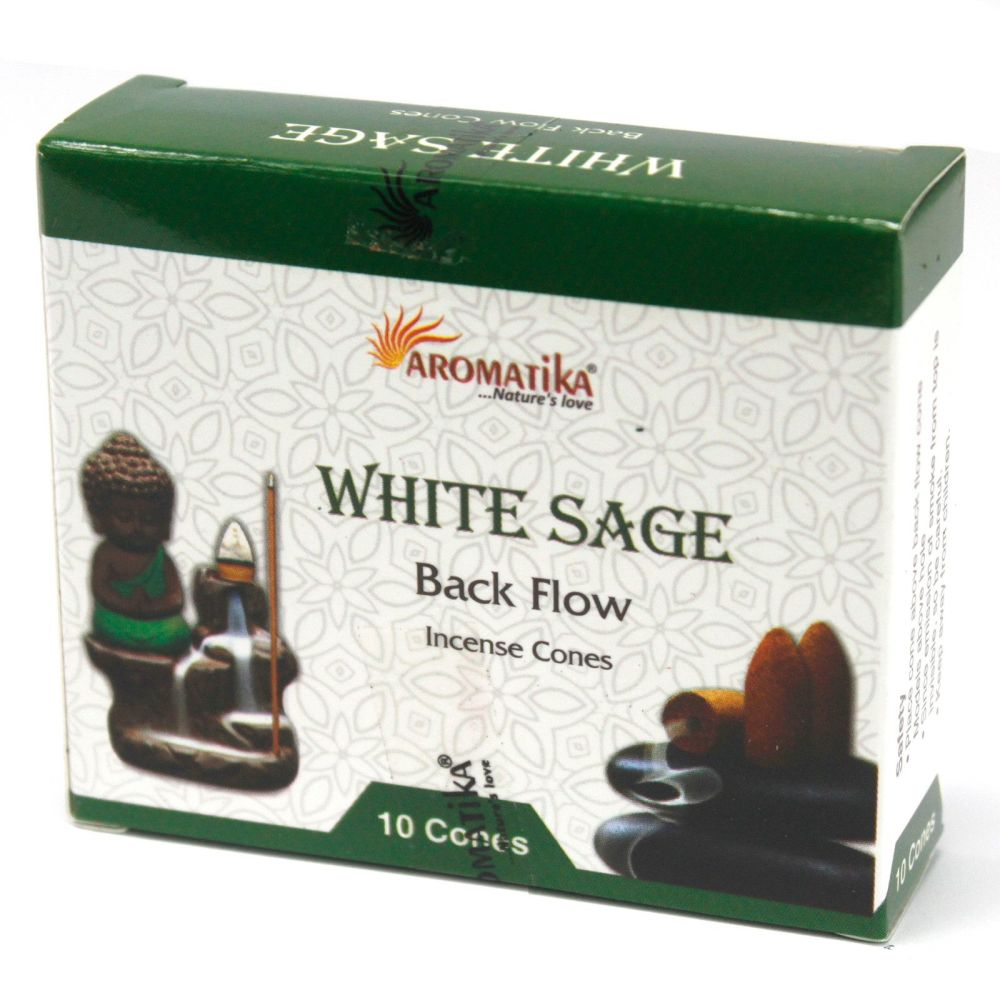 10 x Aromatica Backflow Incense Cones - White Sage