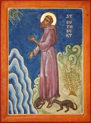 Saint Cuthbert (with otters)