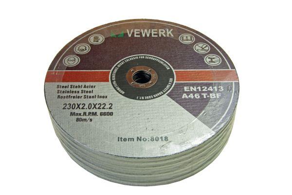 VEWERK 25 PACK - 230 X 2 X 22MM METAL CUTTING DISCS