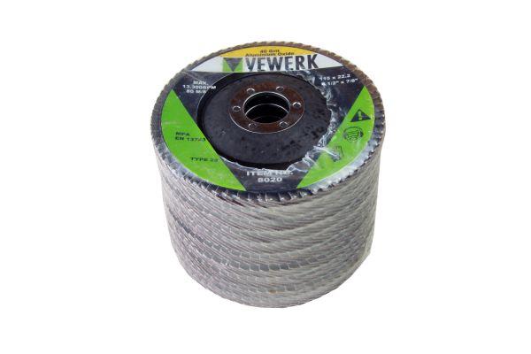 VEWERK A40T29 FLAP DISCS 40 GRIT OXIDE - PACK 10 (115X22.2)