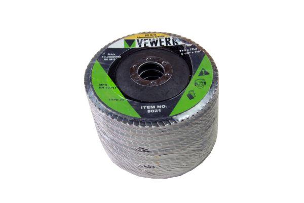 VEWERK A80T29 FLAP DISCS 80 GRIT OXIDE - PACK 10 (115X22.2)