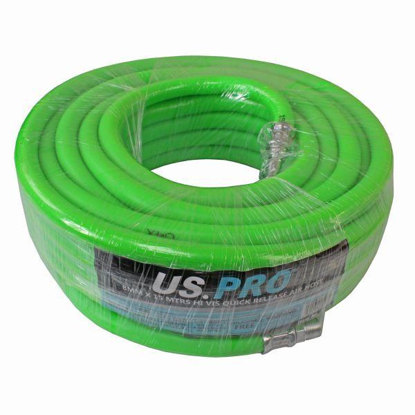 US PRO 8MM X 15 MTRS HI VIS QUICK RELEASE AIR HOSE 15 BAR