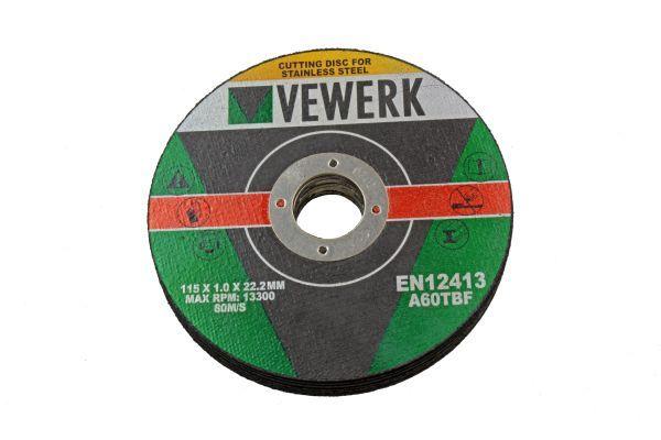 VEWERK BOX 400 - 115 X 1.0 X 22.2MM CUTTING DISC FOR S/STEEL
