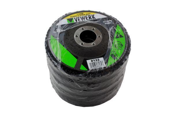 VEWERK 115MM CLEAN & STRIP DISCS 22.2MM BORE - PACK 5