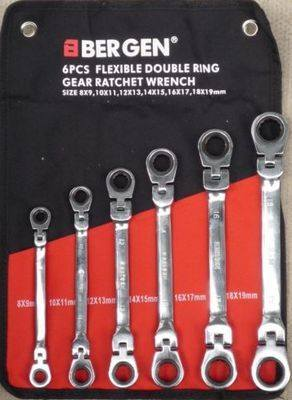 BERGEN 6pc 	 BERGEN 6pc Double Flexible Ring Ratchets Spanner 8-19mmSpann