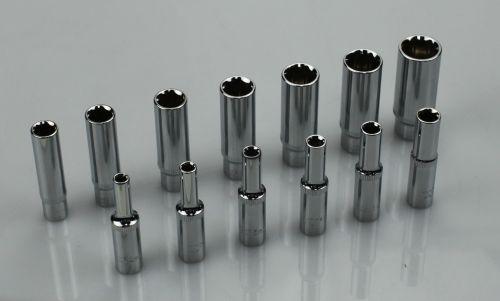 Welzh Werkzeug 13-Piece 1/4dr Deep Chrome Sockets 4-14 mm