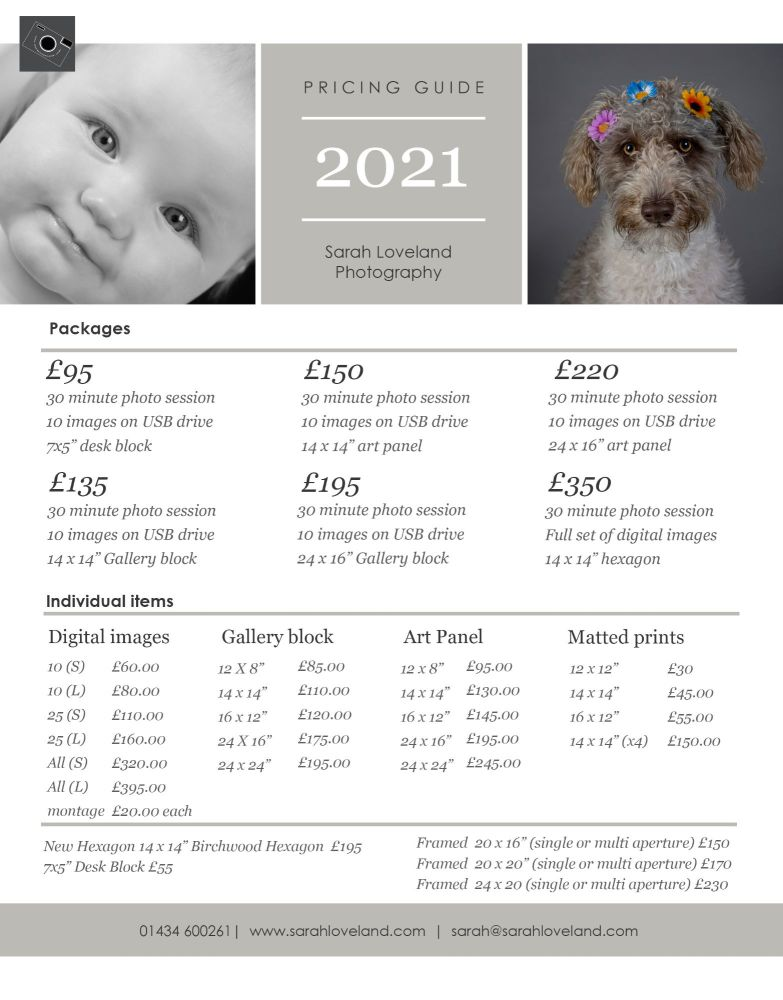 photo shoot price list 2021
