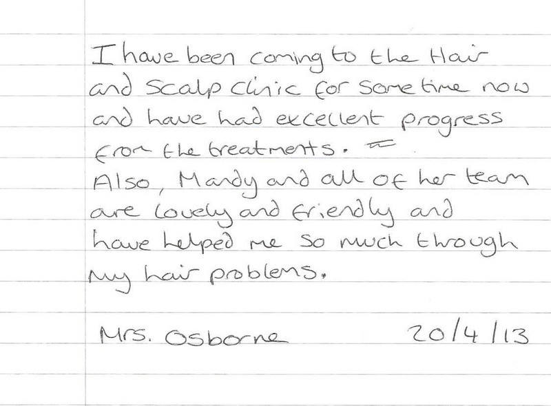 Mrs Osborne - Hair Loss and Scalp Clinic Testimonial