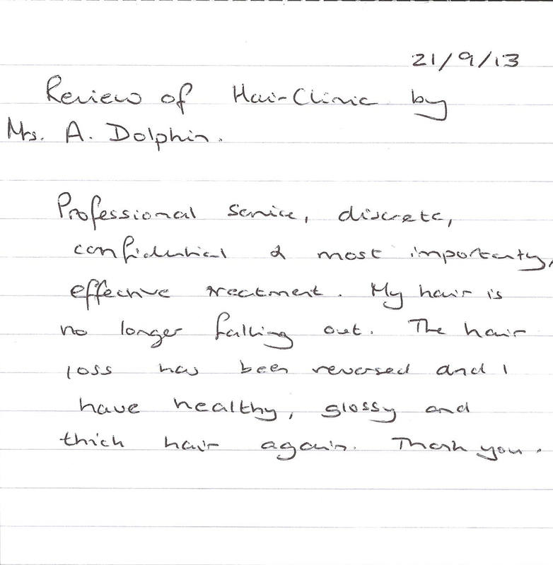 Mrs A Dolphin - Hair and Scalp Clinic Testimonial