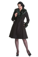 Hell Bunny Rock Noir Coat in Black and Green