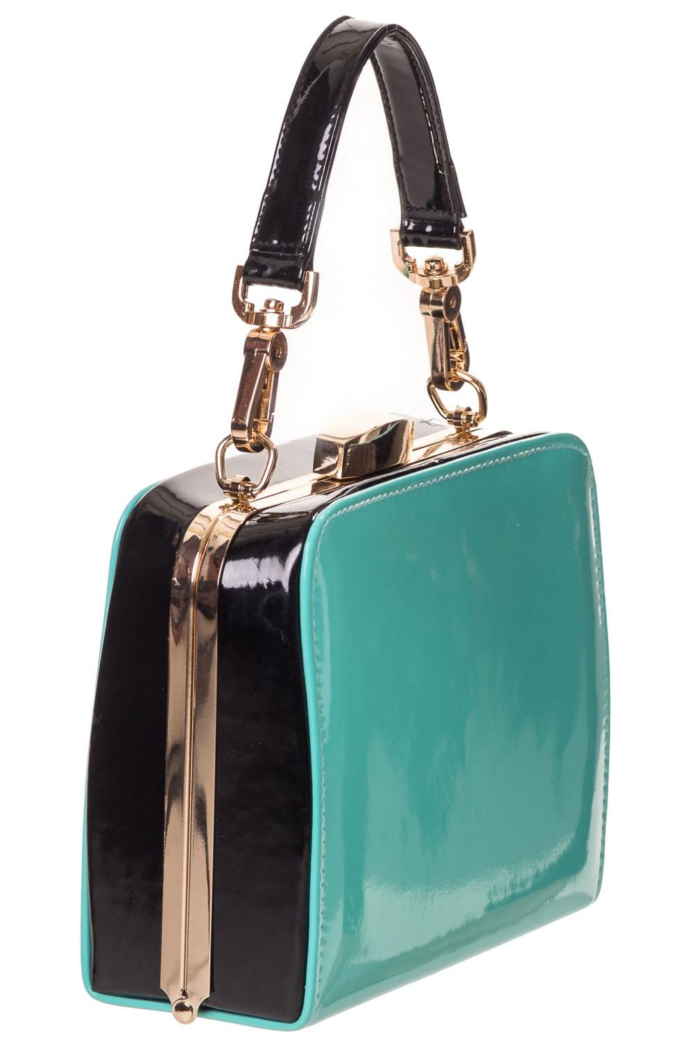 Banned Apparel - No Mercy 1950's Style Carry Shoulder Bag in Turquoise & Wh