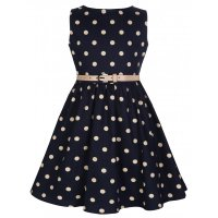 Lindy Bop - Mini Audrey - Navy Polka Dot - Size Age 5 to 6