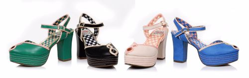 Bettie Page 1940's Donna Shoe - Available in Green, Black, Nude & Blue