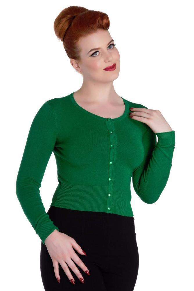 Vintage Style Cardigan - Paloma in Retro Green
