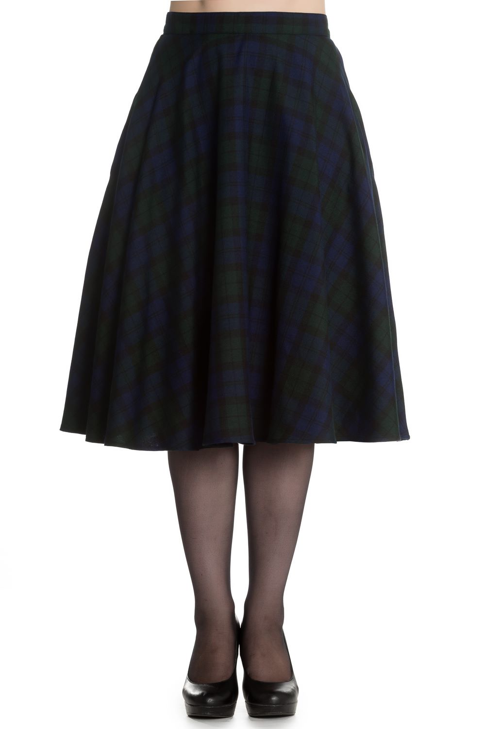 Hell Bunny Doralee 50's Skirt in Blue & Green Stewart Tartan